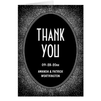 Black and Silver Art Deco Wedding Thank You Cards