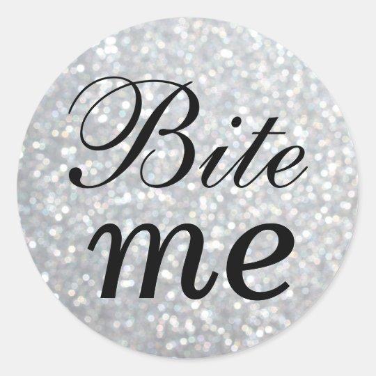 Black and Silver Bite Me Sticker