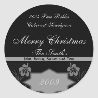 Black and Silver Christmas Wine Labels