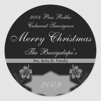 Black and Silver Christmas Wine LARGE Labels