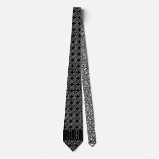Black and Silver Circles | Monogrammed Necktie