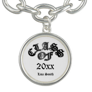 Black and Silver Class of Graduation Bracelet