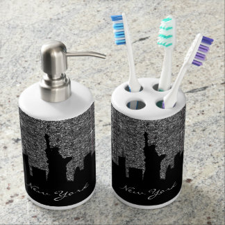 Black and Silver Confetti Glitter New York Skyline Soap Dispenser And Toothbrush Holder