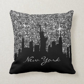 Black and Silver Confetti Glitter New York Skyline Throw Pillow