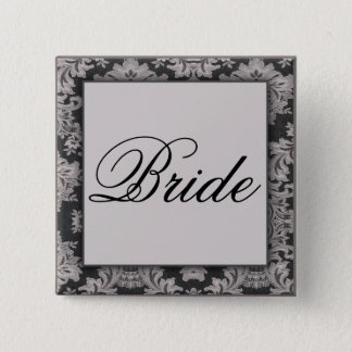 Black and silver damask pattern 2 inch square button