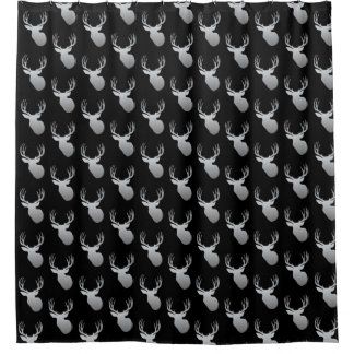 Black and Silver Deer Head Shower Curtain for Men