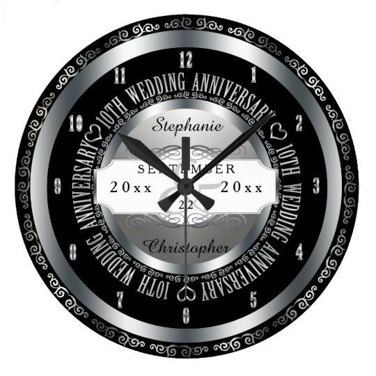 Black and Silver Elegant 10th Wedding Anniversary Wall Clocks