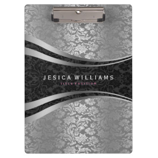 Black And Silver Floral Damasks Clipboard