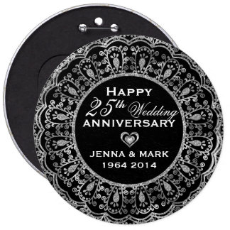 Black And Silver Floral Wreath 25th Anniversary 6 Inch Round Button