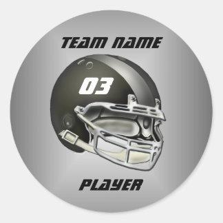 Black and Silver Football Helmet Round Sticker