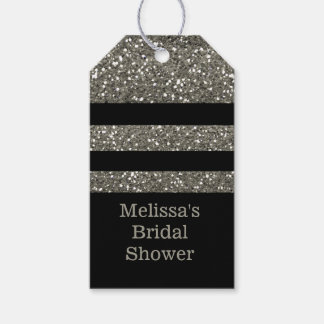 Black And Silver Glitter Bridal Shower Thank You Pack Of Gift Tags