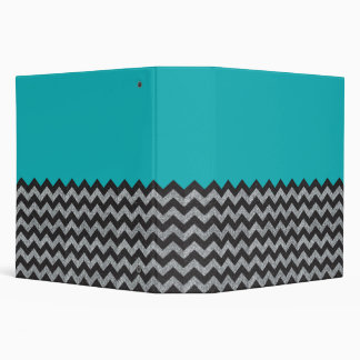 Black and Silver Glitter Chevron and Teal Binder