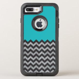 Black and Silver Glitter Chevron iPhone 7 Otterbox