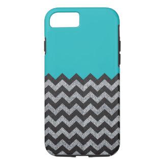 Black and Silver Glitter Chevron iPhone Case