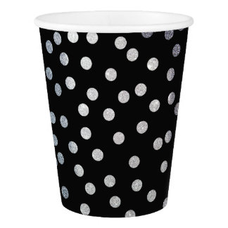 Black and Silver Glitter Dot Patterned Paper Cup