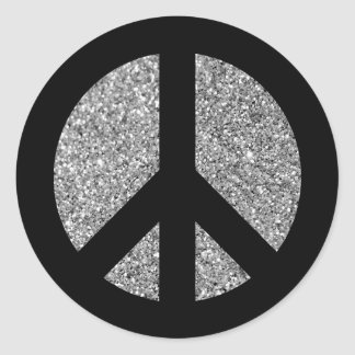 Black and Silver Glitter Photo Peace Symbol Classic Round Sticker