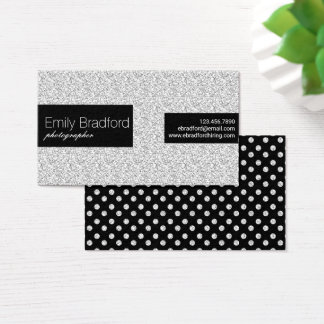 Black and Silver Glitter Polkadot Business Cards