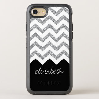 Black and Silver Glitter Print Chevrons and Name OtterBox Symmetry iPhone 7 Case