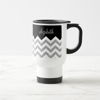 Black and Silver Glitter Print Chevrons and Name Travel Mug