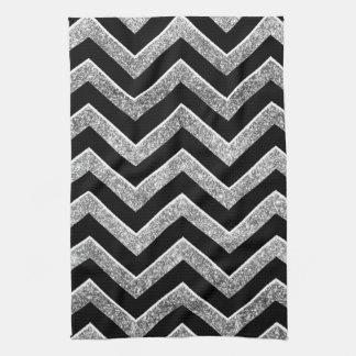 Black and silver glittery  chevron kitchen towel