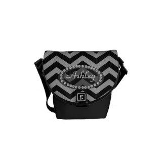 Black and Silver Glittery Chevron w/ Diamonds Courier Bag