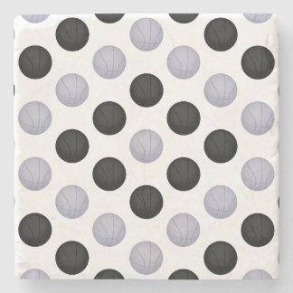 Black and Silver Gray Basketball Pattern Stone Coaster