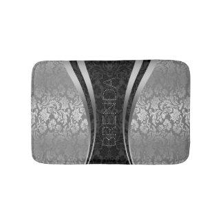 Black And Silver-Gray Floral Damasks Pattern Bath Mat