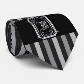 Black and Silver Gray Stripes Buckle Monogram Tie