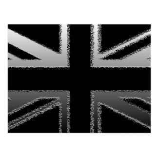 Black and Silver Grey Union jack Flag Postcard