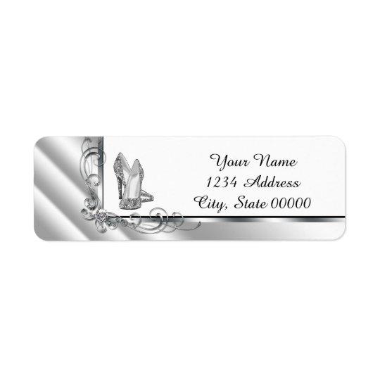 Black and Silver High Heel Shoe Address Return Address Label