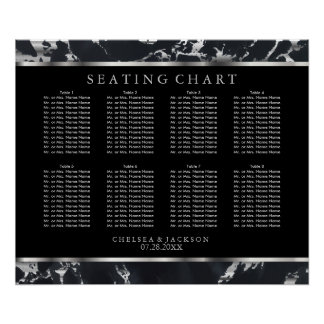 Black and Silver Marble - Seating Chart Poster