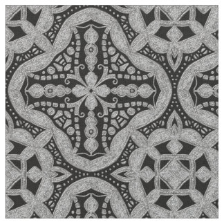 Black and silver metal style fabric