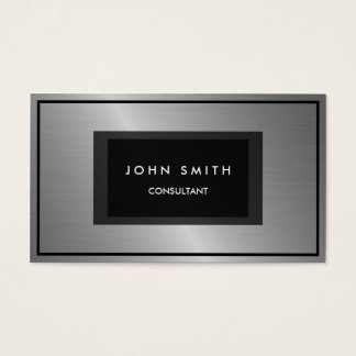 Black and Silver Metallic Look, Two Sided Business Card