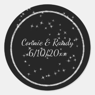 Black and Silver Monogram Wedding Sticker