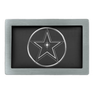 Black And Silver Pentacle Belt Buckle