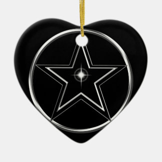 Black And Silver Pentacle Ceramic Heart Ornament