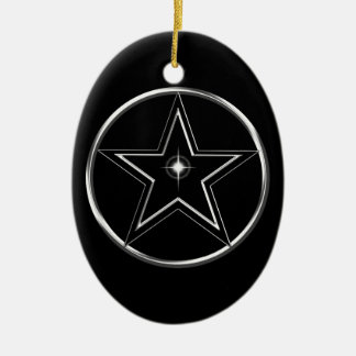 Black And Silver Pentacle Ceramic Oval Ornament