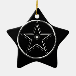 Black And Silver Pentacle Ceramic Star Ornament