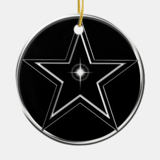 Black And Silver Pentacle Round Ceramic Ornament