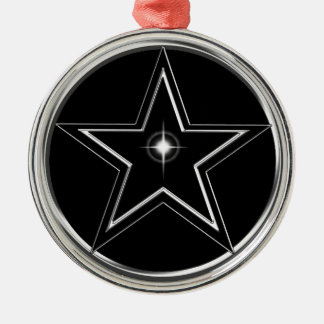 Black And Silver Pentacle Silver-Colored Round Ornament