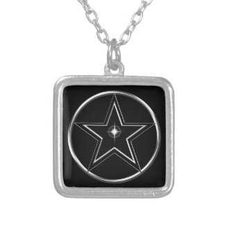 Black And Silver Pentacle Silver Plated Necklace