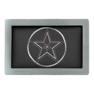 Black And Silver Pentacle with Inverted Pentagram Belt Buckle