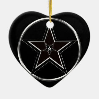 Black And Silver Pentacle with Inverted Pentagram Ceramic Heart Ornament