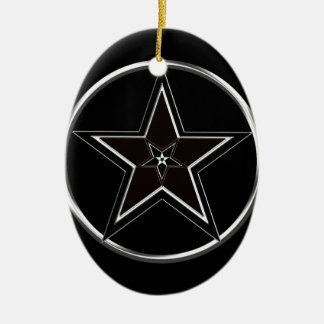 Black And Silver Pentacle with Inverted Pentagram Ceramic Oval Ornament