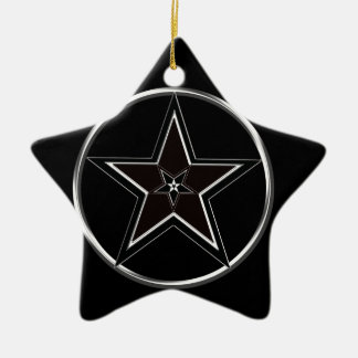 Black And Silver Pentacle with Inverted Pentagram Ceramic Star Ornament