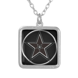 Black And Silver Pentacle with Inverted Pentagram Silver Plated Necklace
