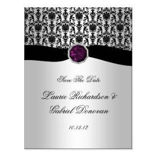 Black and Silver Purple Jewel Save The Date Postcard