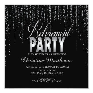 Black and Silver Retirement Party Invitations