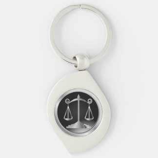 Black and Silver Scales of Justice | Law Keychain