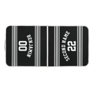 Black and Silver Sports Jersey Custom Name Number Beer Pong Table